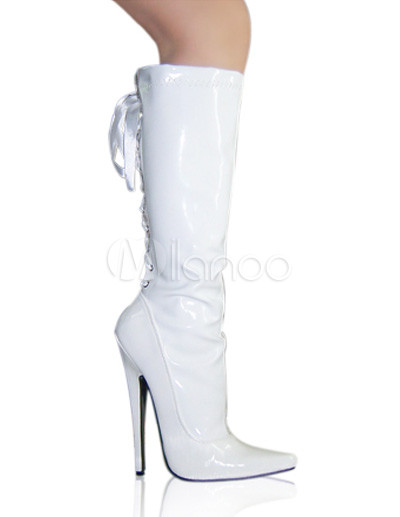 High Heel White Patent Knee High Sexy Boots - Milanoo.com