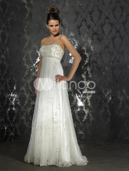 Empire Waist Ivory Strapless Brush Train Lace Satin Wedding Gown