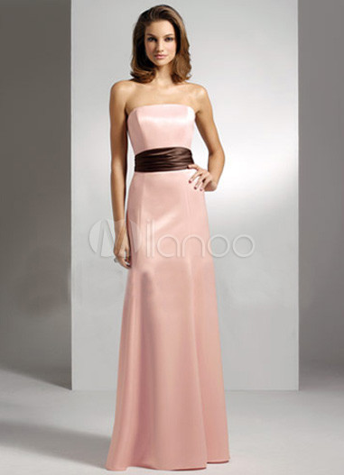 Pink strapless sash floor length satin bridesmaid dress for Wedding dress with red sash