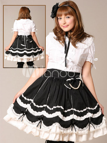Black  White Maxi Dress on Cotton White Lolita Blouse And Black Lolita Skirt Outfit