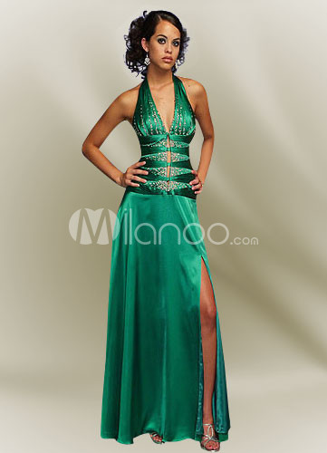 Dark Green Halter A-line Satin Prom Dress/Homecoming Maxi Dress