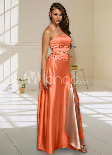 Orange Strapless Satin Prom Gown