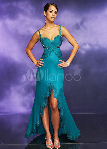 Hunter Green Spaghetti Sweetheart Satin Long in Back Short in Front Prom Dress/Homecoming Dress