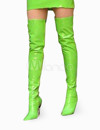 4 1/2'' High Heel Green Patent Thigh High Sexy Non-Platform Boots ...