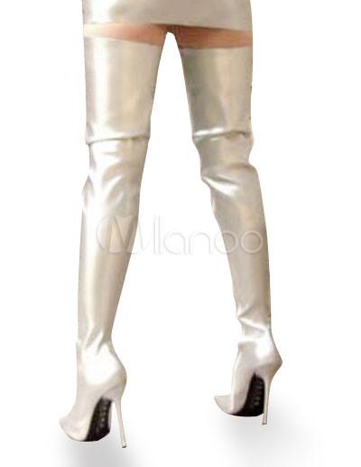 High Heel silver Patent Thigh High Sexy Non-Platform Boots ...