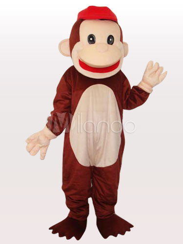 Red Cap Happy Monkey Short Plush Adult Mascot Costume