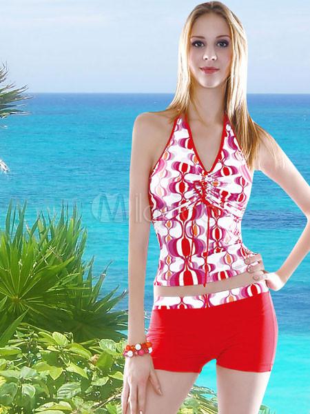 Traje De Baño Rojo Andrea:Vestido de traje de baño rojo de dos piezas tankini – Milanoocom