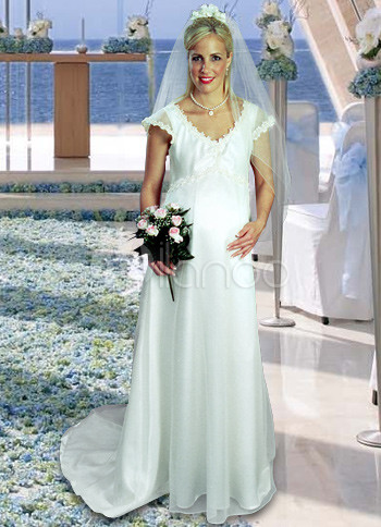 Short Sleeves Vneck Sweep Lace Trim Organza Satin Maternity Wedding Dress