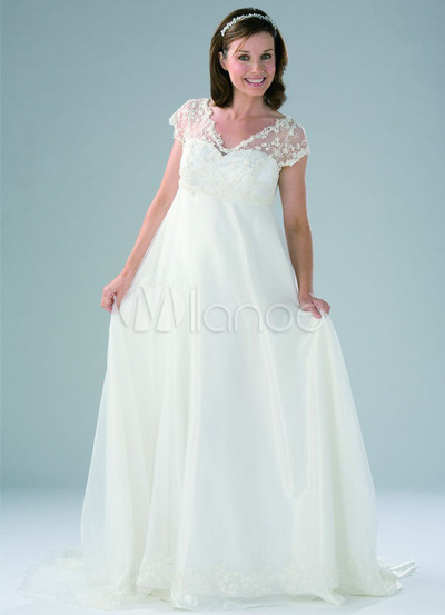 White Organza Vneck Satin Short Sleeves Maternity Wedding Dress 10899