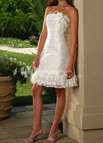 Romantic Strapless Ruffles Taffeta Mini Wedding Dress