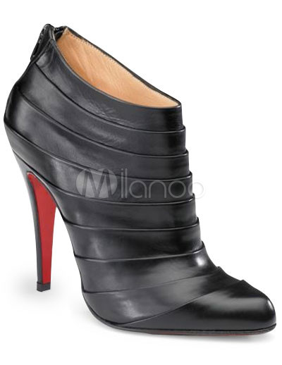 4 3/4'' High Heel Black Cowhide Ankle High Sexy Boots