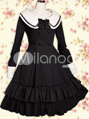 Cotton Black Ruffles Long Sleeves School Lolita Dress