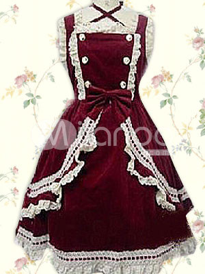 Cotton Dark Reddish Brown Sleeveless Cotton Classic Lolita Dress