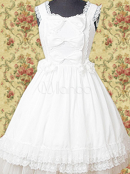 Cotton White Lace Bow Cotton Sweet Lolita Dress