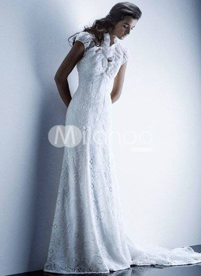 Lace White Satin Floor Length Wedding Dress