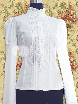 Cotton White Puff Sleeves Pintucks Lolita Blouse