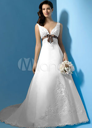 A-line V-Neck Empire Waist Sash Beading Embroidery Lace Satin Wedding Dress