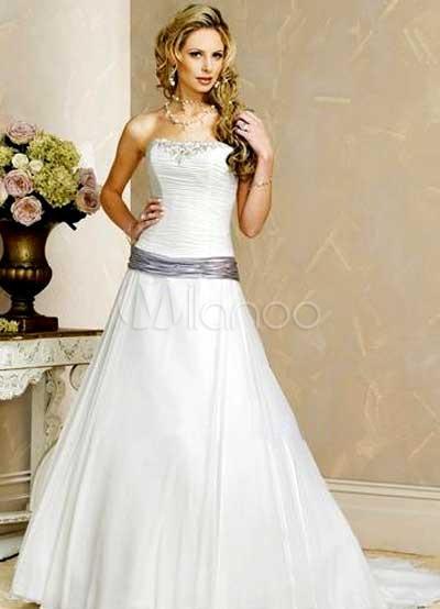 A-line Sash Beading Chiffon Satin Wedding Dress
