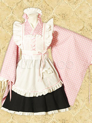 Cotton Pink White Polka Dot Wa Cosplay Lolita Dress