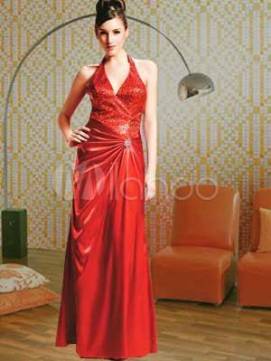 Satin Dress on Reviews Red Halter Satin Mother Of Bride And Groom Dress Online Store
