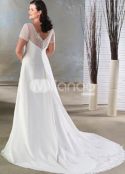 Chiffon Bridal Gowns on Empire Waist V Neck Beading Satin Chiffon Wedding Dress   Milanoo Com