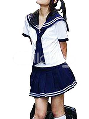 Uniforme scolaire, comprend des manches courtes blancs avec cravate ...