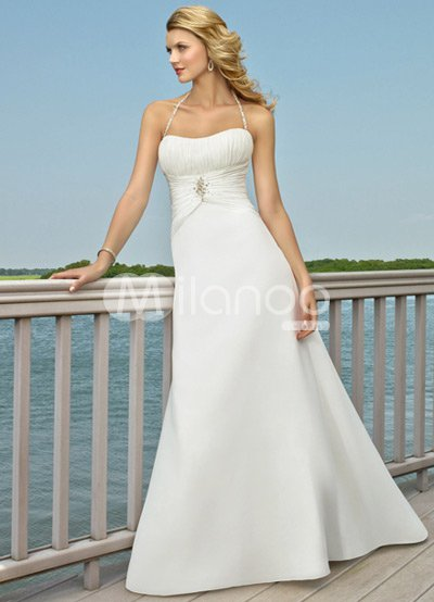 Simple White A-line Halter Beading Satin Wedding Dress