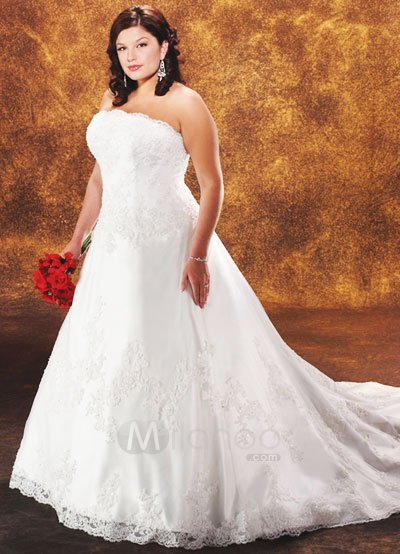 Karlees Blog Plus Size Lace Appliqued Corset Satin Wedding Dress