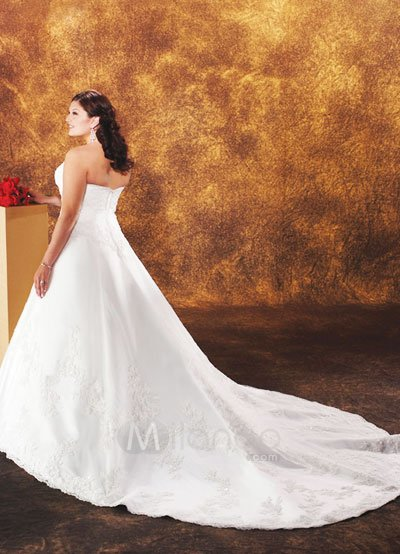 Lace Elegant White Aline Embroidery Satin Organza Plus Size Wedding Dress