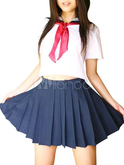 Uniforme scolaire, comprend blanc manches courtes haut et bleus ...