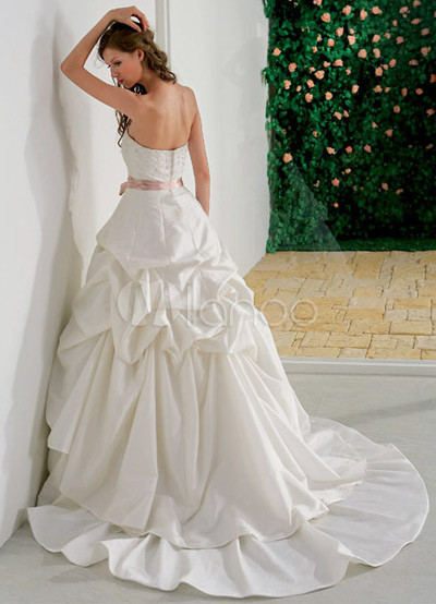 Wedding Gown Sash on White Ball Gown Strapless Beading Sash Taffeta Wedding Dress