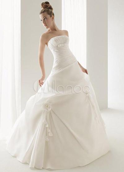 White Ball Gown Strapless Empire Waist Satin Wedding Dress 14799