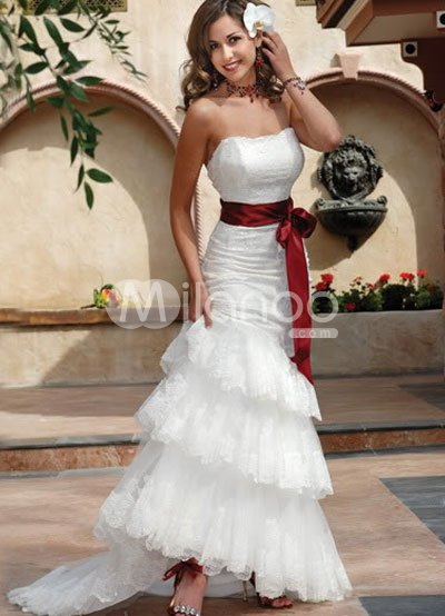 White Strapless Beading Lace Satin Sash Wedding Dress