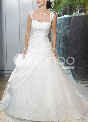 A-line Beaded Applique Satin Wedding Dress
