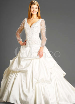 Ball Gown VNeck Long Sleeves Beading Embroidery Taffeta Wedding Dress