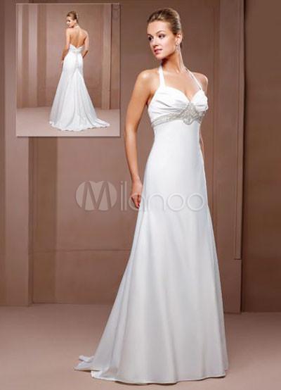 Elegant white a line halter empire waist beading chiffon for Halter empire waist wedding dresses