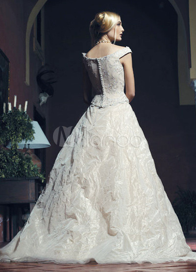 Off the shoulder beaded ball gown sweep taffeta organza for Off the shoulder taffeta wedding dress