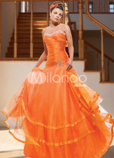 Gorgeous Orange Ball Gown Strapless Sweetheart Satin Organza Evening Dress