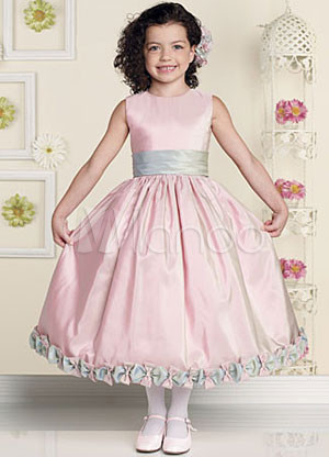 Pink Sleeveless Sash Flower Decoration Satin Flower Girl Dress
