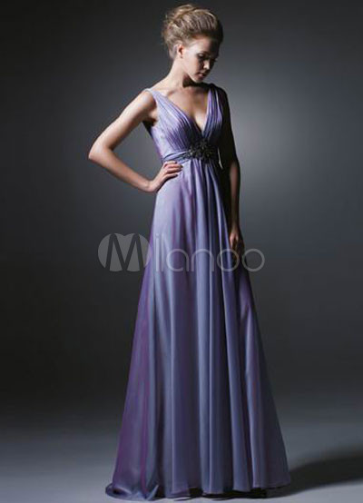 Vintage Style Deep VNeck Empire Waist Satin Organza Evening Dress 12299