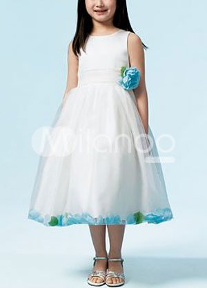 Sleeveless Sash Flower Taffeta Organza Flower Girl Dress