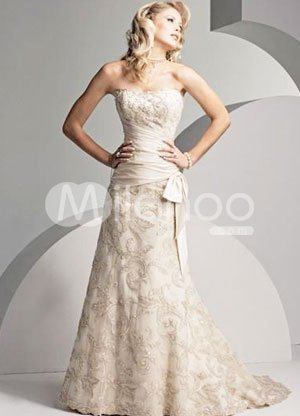 Strapless Applique Beading Satin Luxury Wedding Dress