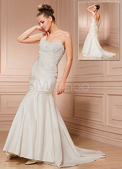 Taffeta Strapless Trumpet Wedding Dresses With Beaded Lace : Ivory elegant sweetheart strapless mermaid trumpet beaded