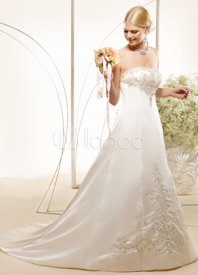 Beaded Wedding Shoes on Line Strapless Beaded Wedding Dress   Milanoo Com
