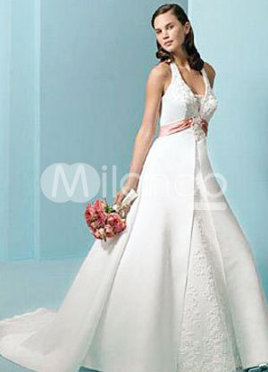Formal White Halter Sash Beaded Applique Floor Length Satin Wedding Dress
