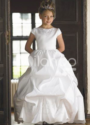 White Short Sleeves Ruched Bottom Embroidery Satin Flower Girl Dress