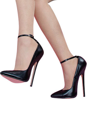 High Heel Ankle Straps Cowhide Black Pumps - Milanoo.com