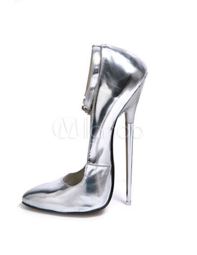 7 1/10'' High Heel Silver Ankle Straps Patent Sexy Pumps - Milanoo.com