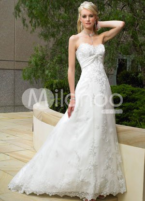 Lace White A-line Empire Waist Sweetheart Applique Beading Satin Organza Wedding Dress