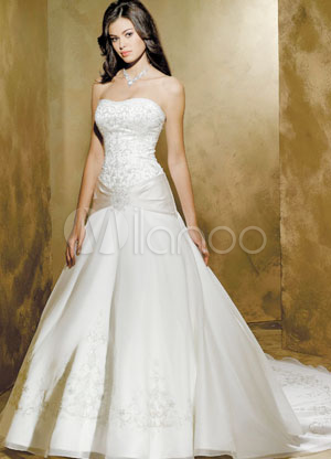 White A-line Strapless Sash Applique Beading Satin Organza Pongee Luxury Wedding Dress